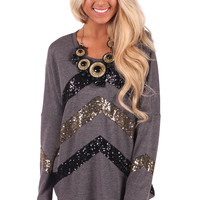 Grey Sequins Front and Sleeve Top