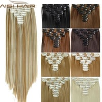 16 Colors Clip in Hair Extensions 25inch Long Straight Fake False Hair Extension Heat Resistant Synthetic Natural Hair Extension