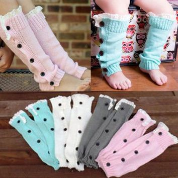 New Cute Baby Toddler Girl Boy Soft Leggings Warmer Leg Warmers Lace Knitting Button Knee Long Stocking Winter Leg Protect Gift