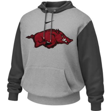 Nike Arkansas Razorbacks Ash-Charcoal Seasonal Tackle Twill Logo Hoodie Sweatshirt