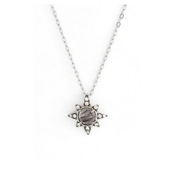 NADRI Holiday Star Drop Black Silver Pendant Necklace