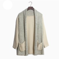 Aliexpress.com : Buy Free shipping 2013 Korean styel new winter long section women large size loose sweater cardigan splicing sweater XCD2081 813 43 from Reliable sweater quilt suppliers on eFoxcity Wholesale