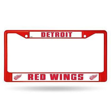 Detroit Red Wings NHL Licensed Red Painted Chrome Metal License Plate Frame