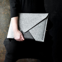 "MacBook 13"" Pro RETINA/ Pro case BESTSELLER premium italian cow leather merino wool felt clutch pocket zipper"