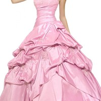 Gorgeous Bridal Elegant Taffeta Strapless Long Ball Gown Quinceanera Dress