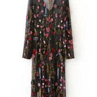 Black Floral Embroidery V Neck Sheer Mesh Maxi Dress -SheIn(Sheinside)