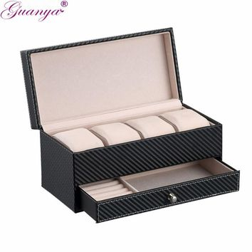 Women's- Leather- 4 Compartment Organizing Jewelry Box- With Drawer For Additional Organizing. 2 Colors To Choose From.