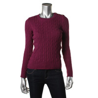 Charter Club Womens Petites Cable Knit Ribbed Trim Crewneck Sweater