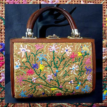 Vintage 1960s Wood Woven Cane Handbag Handpainted Flowers Hong Kong