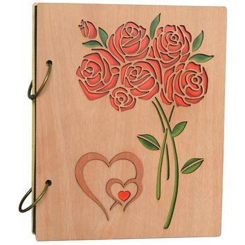 Giftgarden Double Heart Roses Photo Album 4x6 Photo Book Albums Hold 120 Pictures 4 by 6 inch