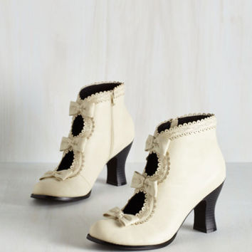 Darling Powerful Protagonist Bootie in Ivory by ModCloth