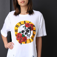 Skull Roses Graphic Print Distressed Top