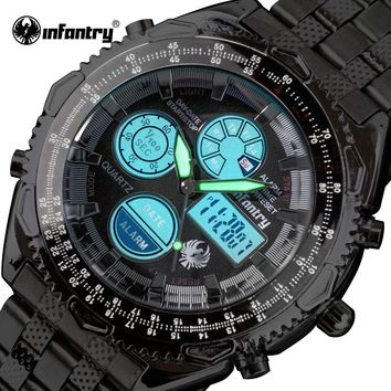 INFANTRY Mens Dual Time Watches Stainless Steel Strap Army Sports Watches Aviator Male Chronograph Stopwatch Relogio Masculino