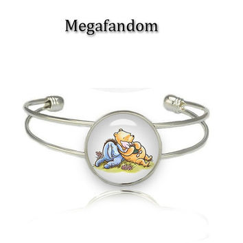 Classic Winnie The Pooh Glass Dome Cuff Bracelet Silver Plated Handmade Cuff Bangle