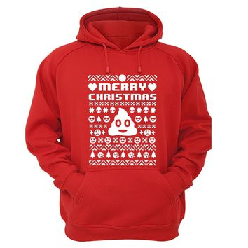 XtraFly Apparel Merry Xmas Emoji Poop Ugly Christmas Hooded-Sweatshirt Pullover Hoodie