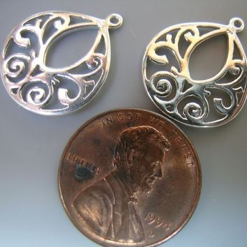 Sterling Silver Design Drops(one pair)