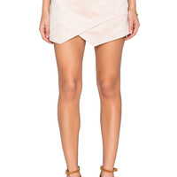 BCBGMAXAZRIA Faux Suede Skirt in Bare Pink