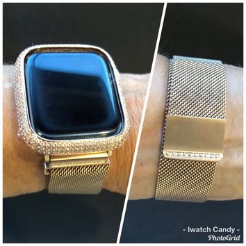 Series 4 Rose Gold 38mm/40mm 42mm/44mm Apple Watch Band Womens Milanese Loop Rhinestone Crystals Series 1,2,3 4/Lab Diamond Bezel Case Cover