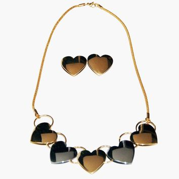 """Necklace Stainless Steel Multi-tone Hearts 18"""" with Matching Earrings"""