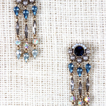 Pearls and Rhinestones Chandelier Stud Earrings