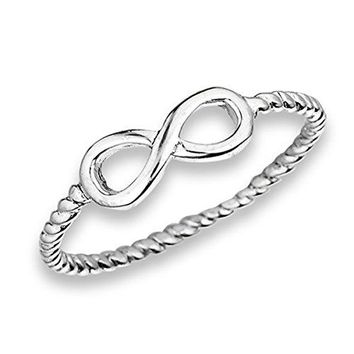 Prime Jewelry Collection Sterling Silver Womens Infinity Knot Eternity Symbol Rope Twist Band Ring Sizes 38