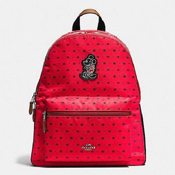 New Authentic Coach F59358 Mickey Charlie Backpack Shoulder Bag In Bandana Print Red N