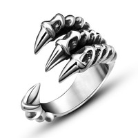2016 New US Size 7-12 Punk Rock Stainless Steel Mens Biker Rings Vintage Gothic Jewelry Silver Color Dragon Claw Ring Men