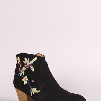 Qupid Suede Floral Embroidered Ankle Boots