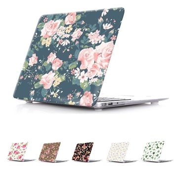 Floral Patterns Print Clear Skin Cover Case For Macbook Pro 13 15 With Retina Air 13 Air 11.6 inch