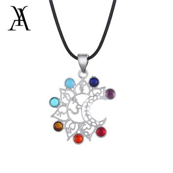 Healing Balance Reiki 7 Chakra Yoga Necklace for Women Rope Chain Natural Stone Infinity Half Moon Meditation Necklaces Pendants