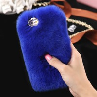 WARM Fluffy Plush BLUE  Faux FUR Bling Case Cover Skin For iPhone 6/ 6S Plus FREE SHIPPING USA ONLY