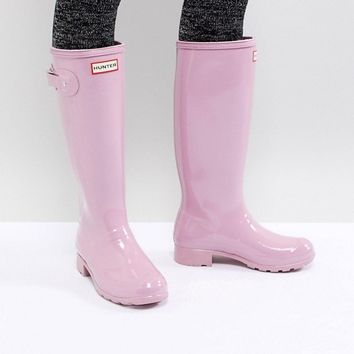 Hunter Original Tall Pink Gloss Wellington Boots at asos.com