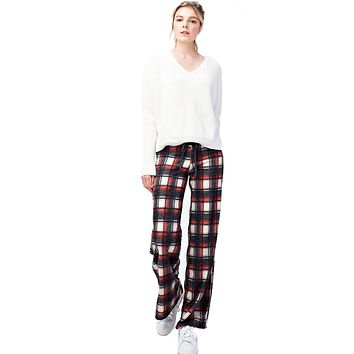 Black Red Checkered Plaid Casual Lounge Pants