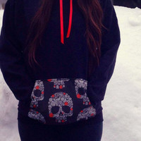 Black Sugar Skull Pocket Hoodie