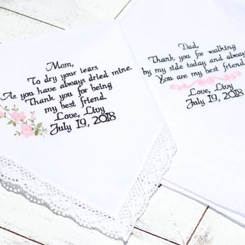 Wedding day gift, Mother of the bride, Father of the bride, Embroidered wedding handkerchiefs, Mom & Dad, Wedding Hankys, Canyon Embroidery