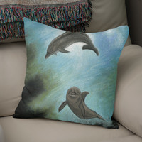 «Dolphins underwater», Numbered Edition Coussin by Savousepate - From 25€ - Curioos