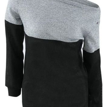 Grey And Black Splicing Asymmetric Shoulder Fashion Pullover Sweater