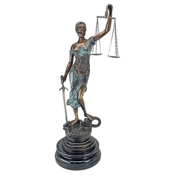 Table Top Themis Blind Lady of Justice Statue for Law Office Bronze 36.5H
