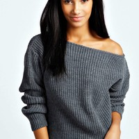 Elsa Crop Slash Neck Jumper