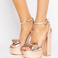 Public Desire Flora Bow Platform Heeled Sandals at asos.com