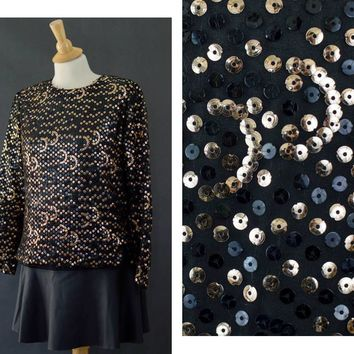 80s Gold Sequins Blouse, New Years Eve Shirt, Sequins Gold Party Blouse, Zip Up Blouse, 80s Glam Blouse, Women's Size Large Blouse