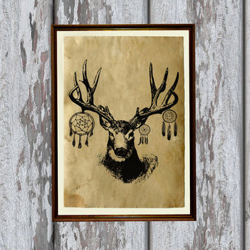 Native american deer poster Dreamcatcher decor Tribal animal print  8.3 x 11.7 inches