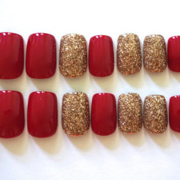 Red Nails- Champagne Accent Nails- Fake/False Nails- Acrylic Nails- Press On Nails- Hand Painted