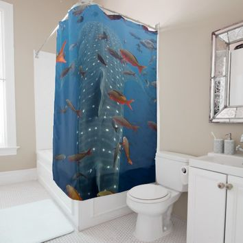 whale shark shower curtain