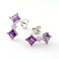 3.25 CT 2-Stone Purple Amethyst Earrings In Sterling Silver | AihaZone Store