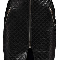 Rosie Zip Detail Quilted Leather Look Mini Skirt