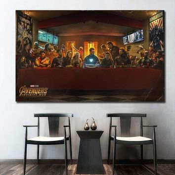 Avengers Infinity War SuperHeros Character The Last Supper Movie Wall Decor Silk Prints Poster Paintings For Living Room NoFrame
