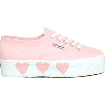 Superga 2790 (l) Pink Whte Hearts Suki Waterhouse - Hers trainers