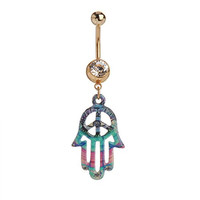 IPINK Hamsa Hand Belly Ring 14 Gauge 316L Surgical Steel