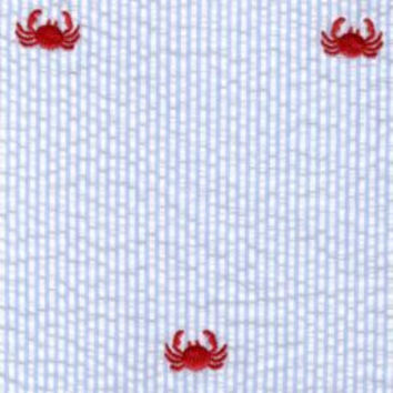 Light Blue Seersucker Fabric with Embroidered Crabs